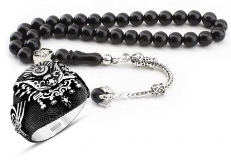 Tesbihane - Gümüş Pençe Püsküllü Oltu Tesbih ve Gümüş Devlet-i Aliyye Yüzük Kombini