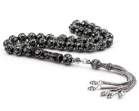 - Gümüş Perde Modifli Yeşil Mineli Gümüş Püsküllü Erzurum Oltusu Tesbih