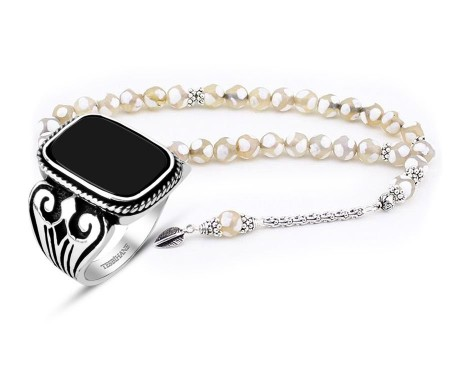 Tesbihane - Gümüş Püsküllü Akik Tesbih ve Oniks Taşlı Gümüş Yüzük Kombini