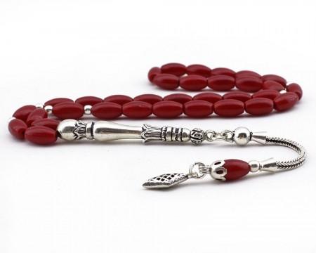 Tesbihane - 925 Ayar Gümüş Püsküllü Arpa Kesim Kırmızı Mercan Doğaltaş Tesbih