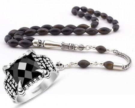 Tesbihane - Gümüş Püsküllü Bufalo Boynuzu Tesbih ve Kartal Pençeli Gümüş Yüzük Kombini