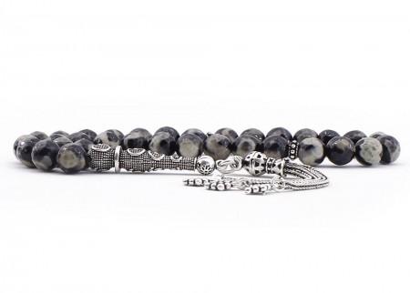 Gümüş Püsküllü Çizgili Akik Tesbih (Model 3) - Thumbnail