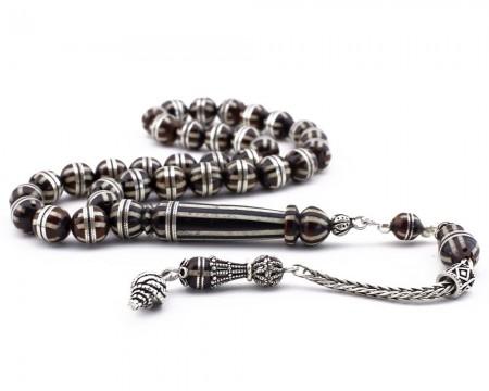 Tesbihane - Gümüş Püsküllü Gümüş ve Mine İşlemeli Küre Kesim Kuka Tesbih