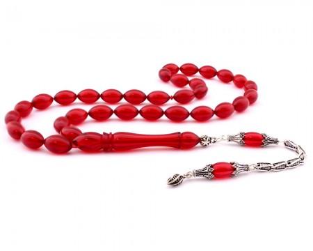 Tesbihane - 925 Ayar Gümüş Püsküllü Arpa Kesim Kırmızı Sıkma Kehribar Tesbih (M-3)