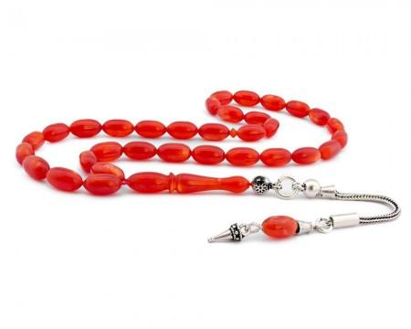 Tesbihane - Gümüş Püsküllü Kırmızı Sıkma Kehribar Tesbih