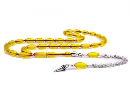Tesbihane - Gümüş Püsküllü Sarı Alman Zarı Kehribar Tesbih