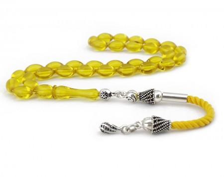 Tesbihane - Gümüş Püsküllü Sarı Şeffaf Sıkma Kehribar Tesbih
