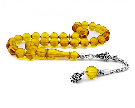 Tesbihane - Gümüş Püsküllü Sarı Sıkma Kehribar Tesbih