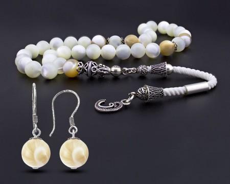 Tesbihane - Gümüş Püsküllü Sedef Tesbih Ve Sedef Küpe Kombini