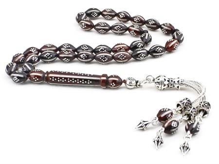 - 925 Ayar Gümüş Püsküllü Gümüş-Mine İşlemeli Arpa Kesim Kuka Tesbih