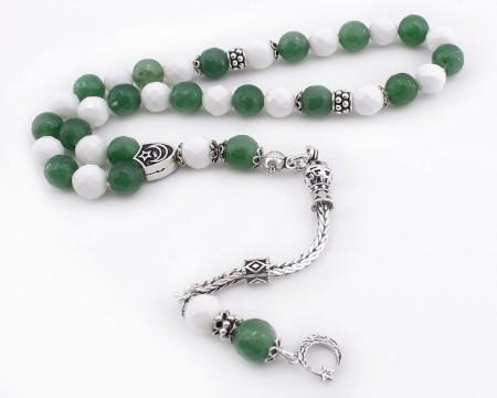 Tesbihane - Gümüş Püsküllü Yeşil Beyaz Doğaltaş Taraftar Tesbihi