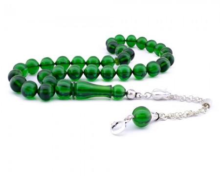 Tesbihane - Gümüş Püsküllü Yeşil Sıkma Kehribar Tesbih