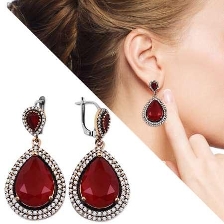 Tesbihane - Zirkon ve Kırmızı Ruby Taşlı Damla Tasarım 925 Ayar Gümüş Küpe