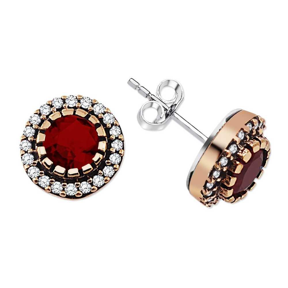 Zirkon ve Kırmızı Ruby Taşlı Yuvarlak Tasarım 925 Ayar Gümüş Küpe