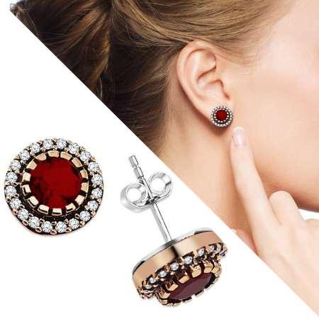 Tesbihane - Zirkon ve Kırmızı Ruby Taşlı Yuvarlak Tasarım 925 Ayar Gümüş Küpe
