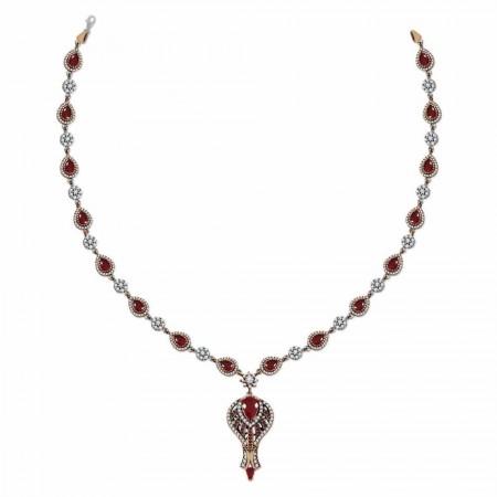 - Zirkon ve Kırmızı Ruby Taşlı Otantik 925 Ayar Gümüş Bayan Kolye