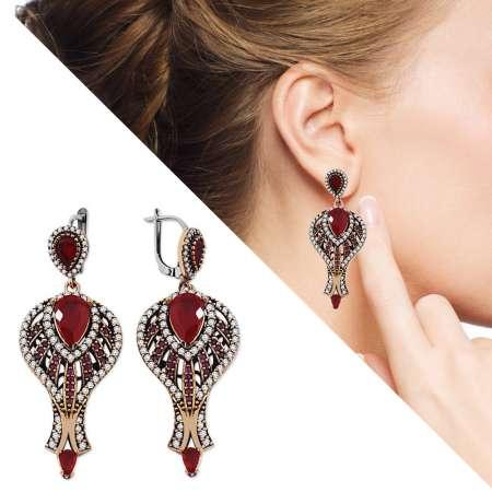 Tesbihane - Zirkon ve Kırmızı Ruby Taşlı 925 Ayar Gümüş Otantik Küpe