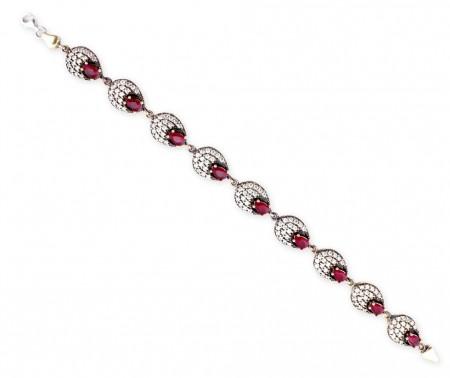 Tesbihane - Zirkon ve Kırmızı Ruby Taşlı 925 Ayar Gümüş Bayan Bileklik