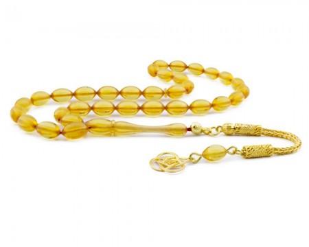 Tesbihane - Gümüş Sarı Renk Sıkma Kehribar Tesbih