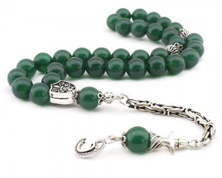 - 925 Ayar Gümüş Kral Püsküllü Küre Kesim Yeşil Akik Tesbih