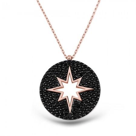 Tesbihane - Gümüş Siyah Kutup Yıldızı Kolye