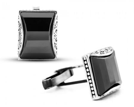 Tesbihane - Gümüş Siyah Zirkon Taşlı Kol Düğmesi