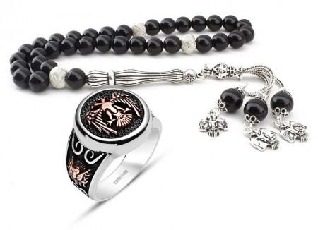 Tesbihane - Gümüş Tasarım Oniks Tesbih ve Selçuklu Kartallı Gümüş Yüzük
