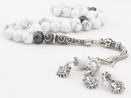 - Gümüş Tasarımlı ve Kazaz Süslemeli Havlit Tesbih (FDVMXLS)