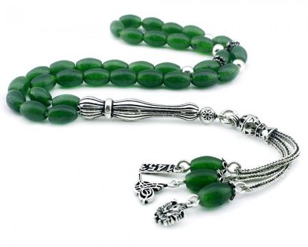 Tesbihane - 925 Ayar Gümüş Tuğra-Arma-1453 Püsküllü Arpa Kesim Yeşil Akik Tesbih