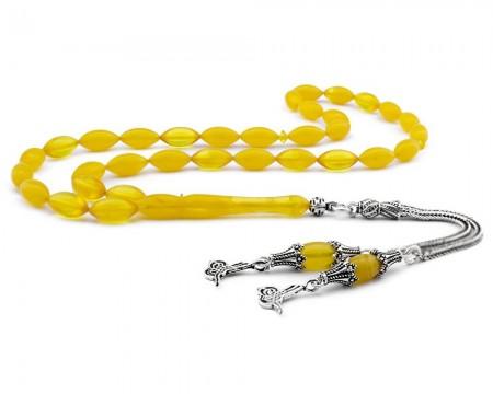 Tesbihane - Gümüş Tuğra Püsküllü Sarı Sıkma Kehribar Tesbih