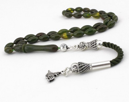- Gümüş Tuğra Püsküllü Yeşil Sıkma Kehribar Tesbih