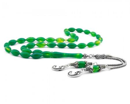 Tesbihane - Gümüş Vav Püsküllü Yeşil Hareli Sıkma Kehribar Tesbih