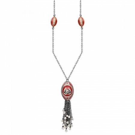 Tesbihane - Gümüş Vav Tasarım Kırmızı Mineli Otantik Kolye