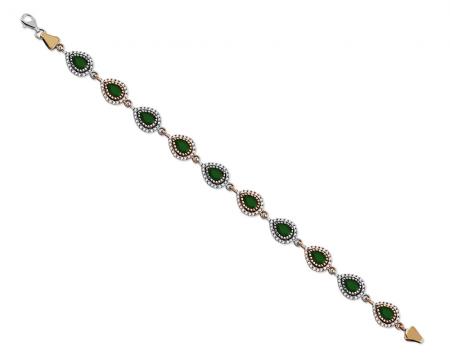 Tesbihane - Zirkon ve Yeşil Ruby Taşlı Damla Tasarım 925 Ayar Gümüş Bayan Bileklik