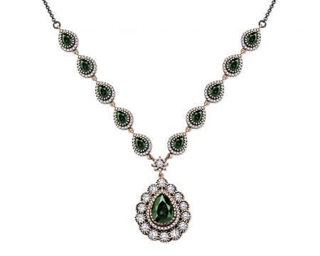 Tesbihane - Yeşil-Beyaz Zirkon Taşlı Otantik 925 Ayar Gümüş Bayan Kolye