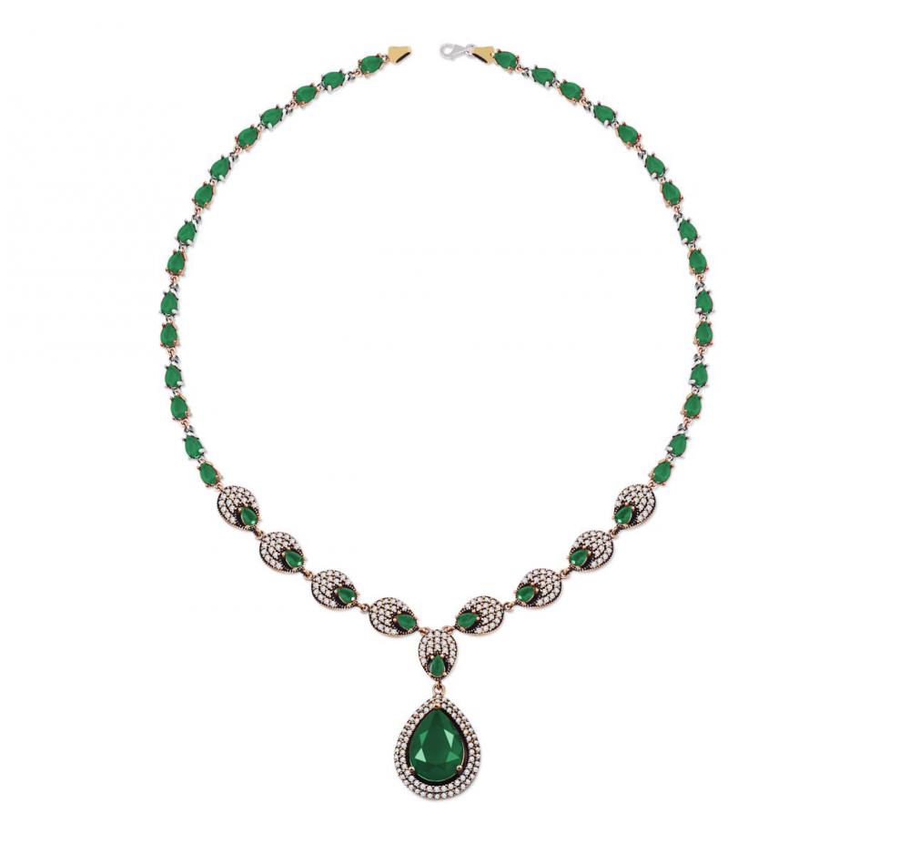 Yeşil Zirkon Taşlı Damla Tasarım Otantik 925 Ayar Gümüş Bayan Kolye