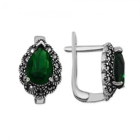Tesbihane - Gümüş Yeşil Zirkon Taşlı Damla Küpe