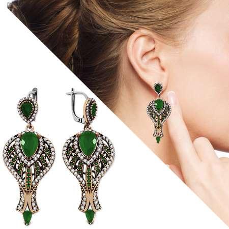 - Zirkon ve Yeşil Ruby Taşlı 925 Ayar Gümüş Otantik Küpe
