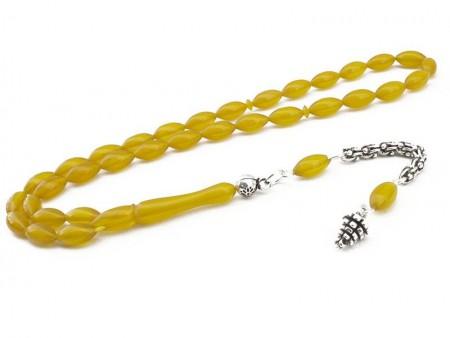 Tesbihane - Gümüşlü Arpa Kesim Sarı Sıkma Kehribar Tesbih (QTNKPCVB)