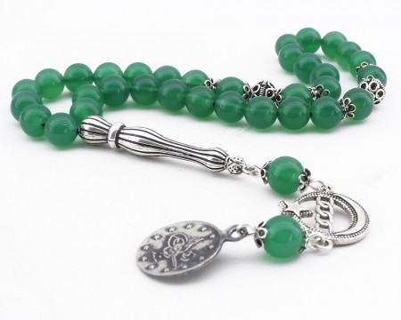 - 925 Ayar Gümüş Tuğra ve Ayyıldız Püsküllü Küre Kesim Yeşil Akik Tesbih