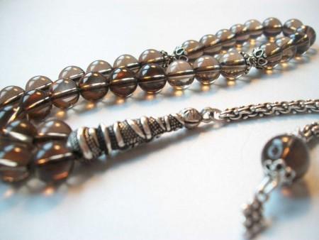 Tesbihane - Gümüşlü Dumanlı Kuvars Doğaltaş Tesbih (IB9HD8RS)