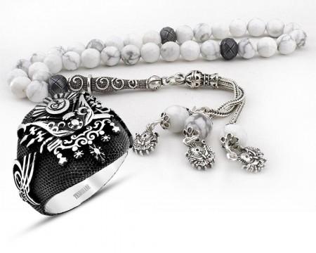 - Gümüşlü Havlit Doğaltaş Tesbih ve Gümüş Devlet Armalı Yüzük Kombini