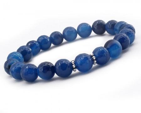 - Gümüşlü Mavi Jade Doğaltaş Bileklik