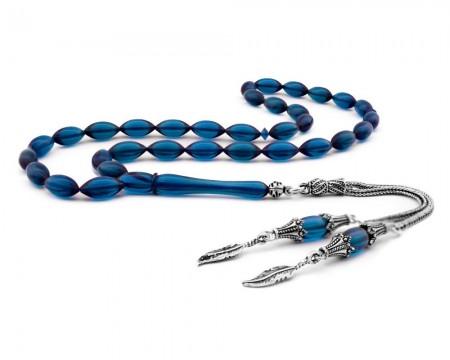 Tesbihane - Gümüşlü Şeffaf Mavi Sıkma Kehribar Tesbih