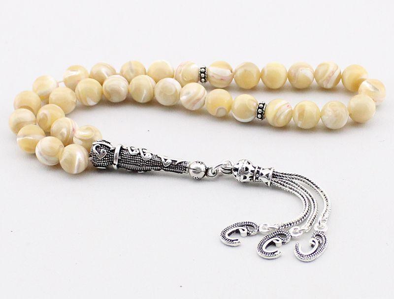 925 Ayar Gümüş Vav Püsküllü Küre Kesim Sarı Sedef Tesbih