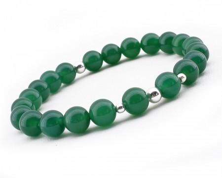 Tesbihane - 925 Ayar Gümüş Kombinli Küre Kesim Yeşil Akik Doğaltaş Bayan Bileklik