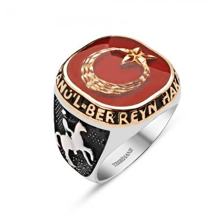 - Hakan'ül Bahreyn Sultan'ül Berreyn - 925 Ayar Gümüş Ayyıldızlı Yüzük