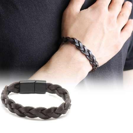 Tesbihane - Hasır Tasarım Koyu Kahverengi Deri-Çelik Kombinli Erkek Bileklik