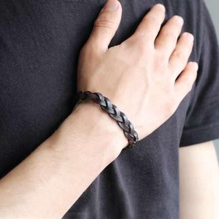 Hasır Tasarım Koyu Kahverengi Deri-Çelik Kombinli Erkek Bileklik - Thumbnail