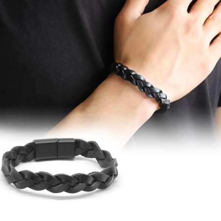 Tesbihane - Hasır Tasarım Siyah Deri-Çelik Kombinli Erkek Bileklik